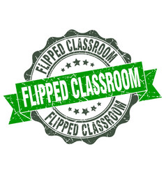Flipped classroom stamp sign seal vector
