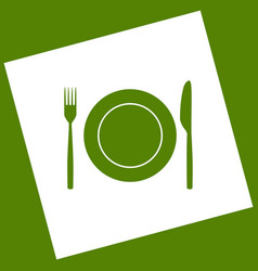 Fork knife and plate sign white icon vector