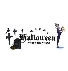 Halloween vampire in coffin draculas monster in vector