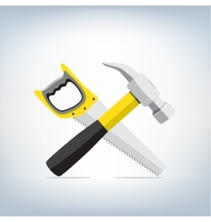 Hammer and a saw icon vector