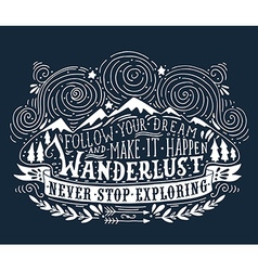 Hand drawn vintage label with mountains forest and vector image