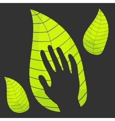 Hand in leaf vector