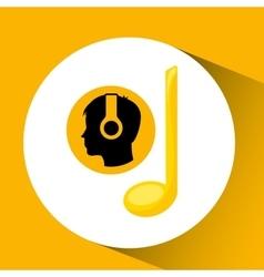 Head silhouette listening music black note vector
