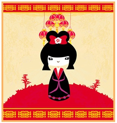 Kokeshi doll vector image vector image