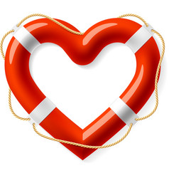Life buoy in the shape of heart vector image