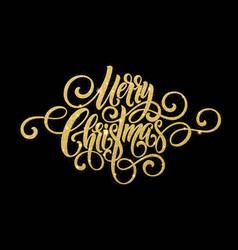 Merry christmas golden handwriting script vector