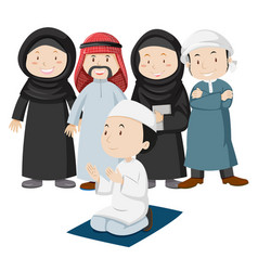 Muslim people in tradition outfit vector