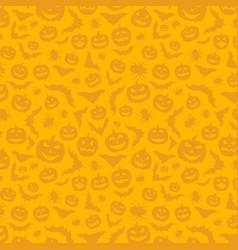 Orange background with halloween pattern vector