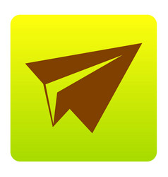 Paper airplane sign brown icon at green vector