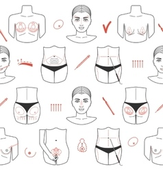 Seamless pattern of plastic surgery with line vector image vector image