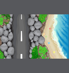 Seaside road top view vector
