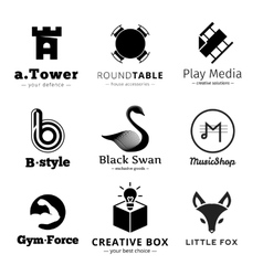Set of minimalistic black and white logos vector image vector image