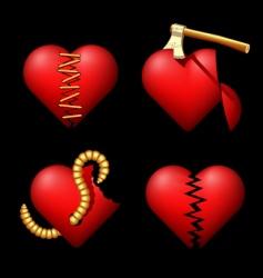 set of the volume broken hearts vector image