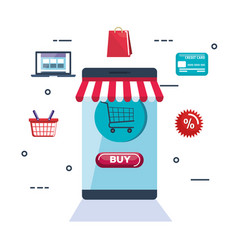 Shopping on line set icons vector