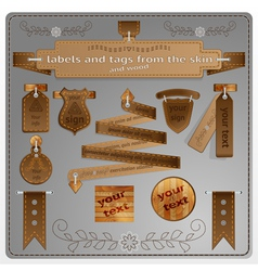 Signs and tags from the skin and wood vector image