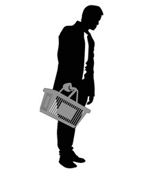 silhouette of a man with shopping basket vector image