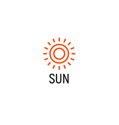 sun orange color abstract simple icon outline vector image