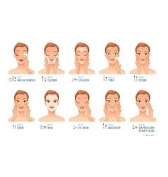Ten basic women skincare steps cartoon vector