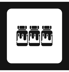 Three jars with gouache icon simple style vector