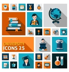 University Icons Set vector image vector image