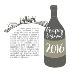 Wine bottle with a grapevine lodge vineyards vector