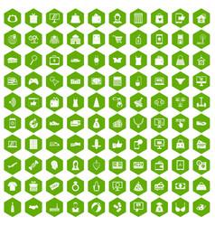 100 online shopping icons hexagon green vector image