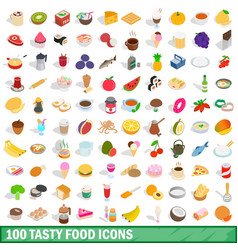 100 tasty food icons set isometric 3d style vector image