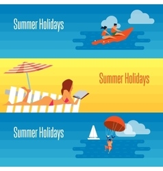 Summer holidays banner with sexy girl on beach vector