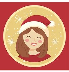 Circle Christmas Girl on Red vector image