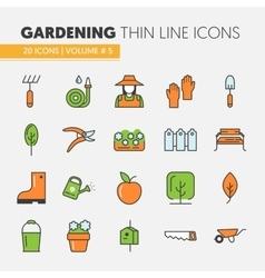 Gardening Thin Line Icons Set vector image