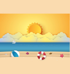 Summer time sea with beach paper art style vector