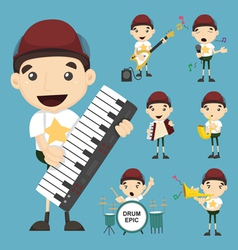 Set of boy and music vector image