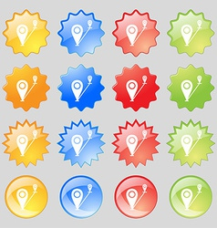 Map pointer icon sign big set of 16 colorful vector