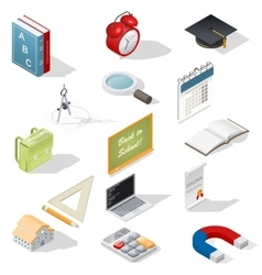 Education isometric isons set vector