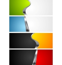 Abstract bright banners with metal elements vector