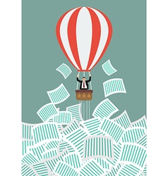 Businessman on balloon get away from documents vector