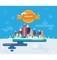 Winter landscape small town vector