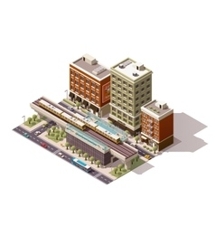 isometric city train station vector image