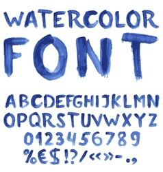 Handwritten blue watercolor alphabet vector image