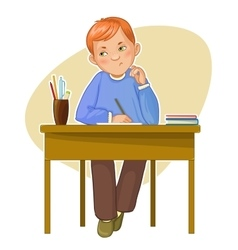 Small boy during her studying sitting at the desk vector image