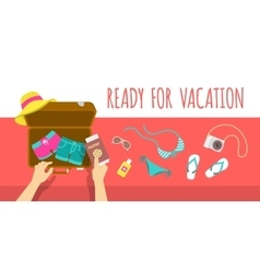 Packing clothes for summer vacation flat vector