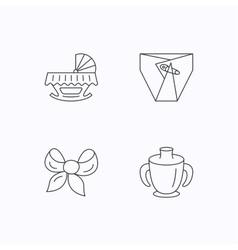 Baby mug diapers and cradle bed icons vector