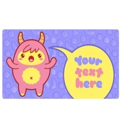 Banner with cute little monster and text vector