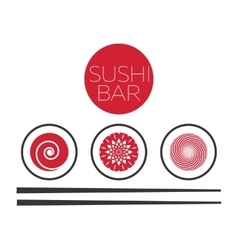 Abstract sushi bar food logo template vector