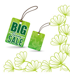 Big spring sale tag price flowers vector