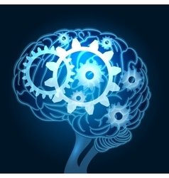 Brain with Gears vector image vector image