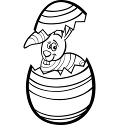 Bunny in easter egg coloring page vector