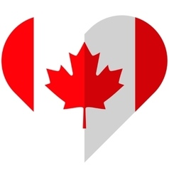 Canada flat heart flag vector