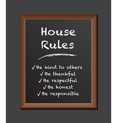 Chalk board house rules vector