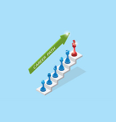Chess pieces represent career growth career path vector